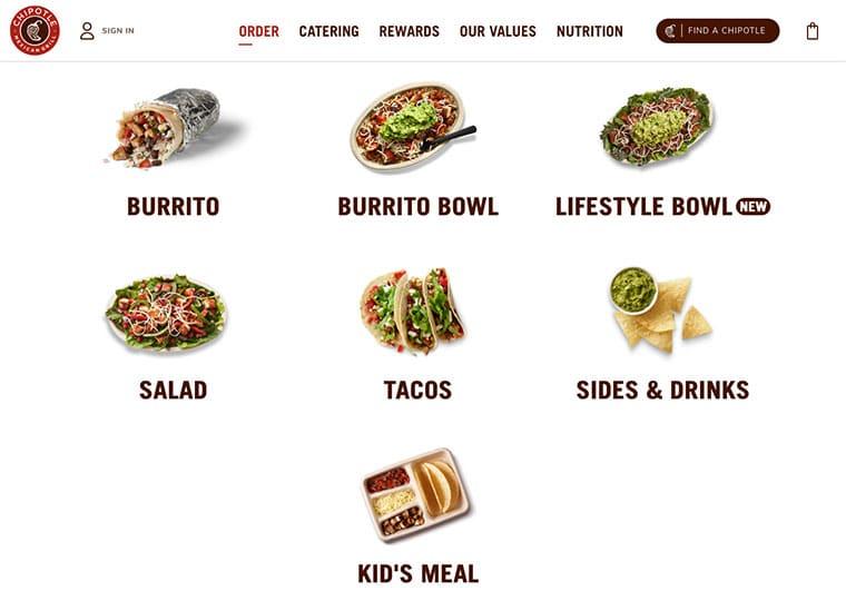 Chipotle website screenshot