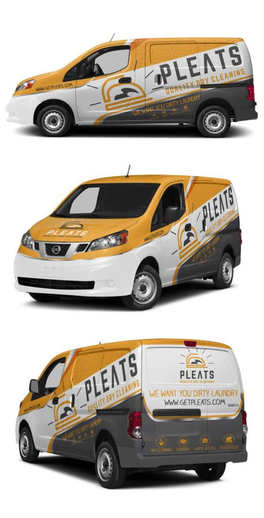 Pleats Dry Cleaning Van Wrap