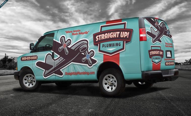 Straight Up Plumbing Van Wrap