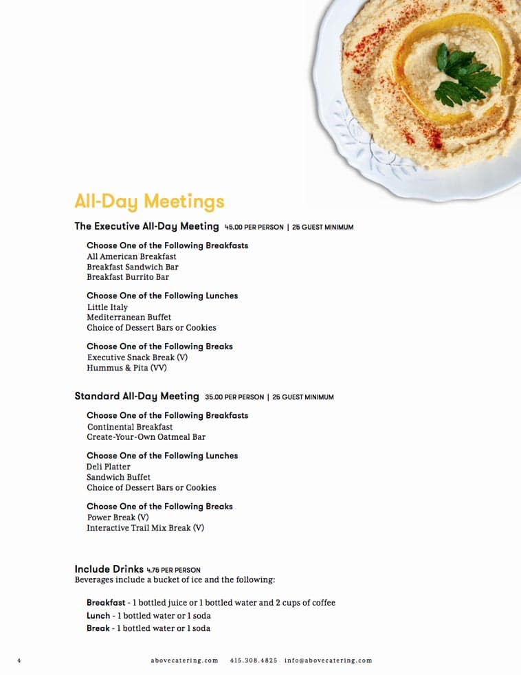 Above & Beyond catering menu design