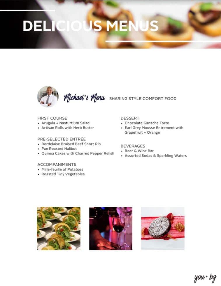 BG Events & Catering Menu Design