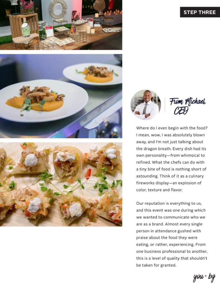 BG Events & Catering Menu Design page two