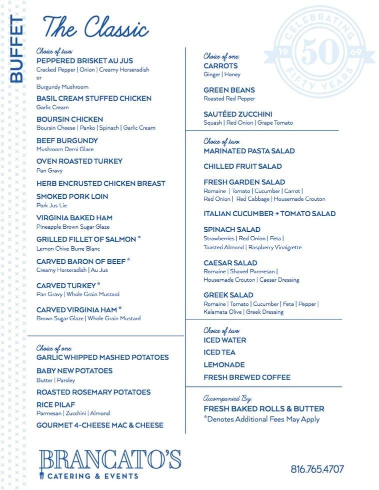 Brancato's Catering menu design example