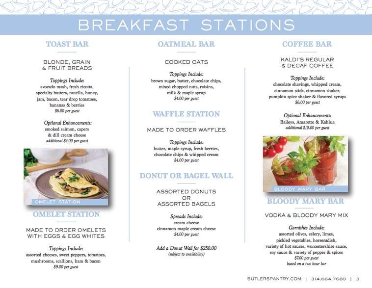 Butler's Pantry breakfast catering menu design