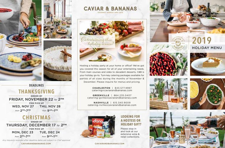 Caviar and Bananas Catering menu cover design example