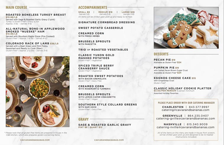 Caviar and Bananas Catering menu design example