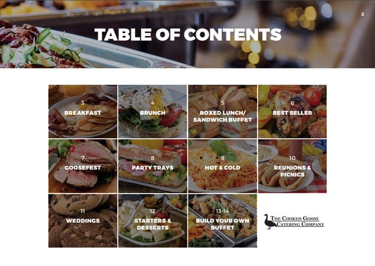 Cooked Goose Catering menu table of contents design