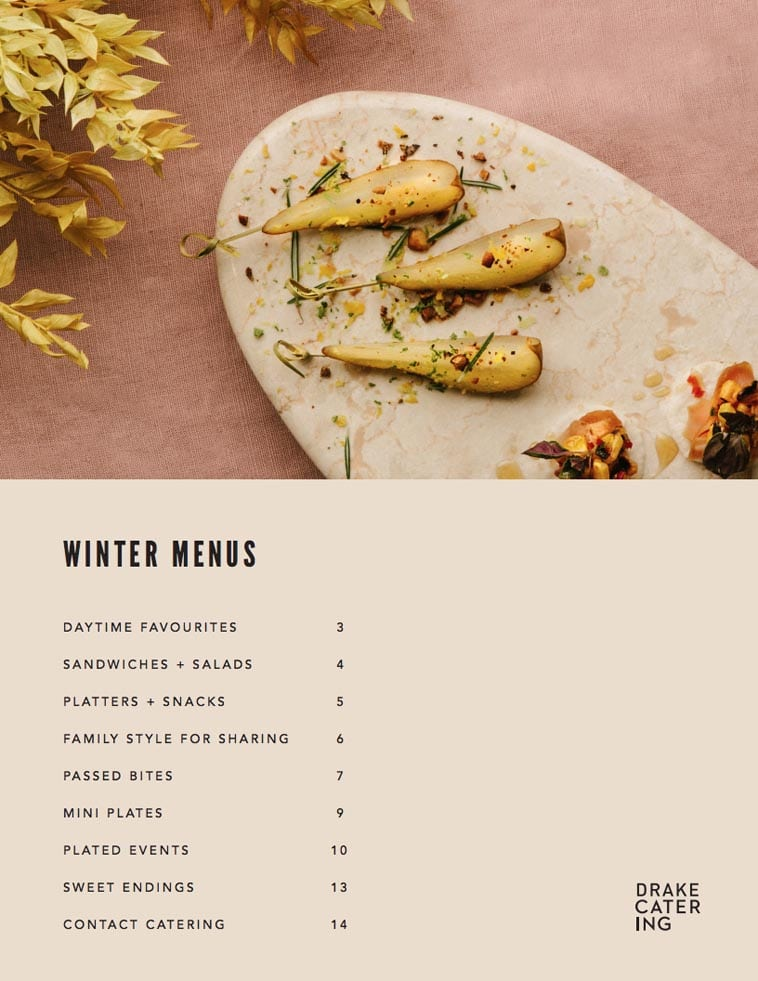 Drake Catering Menu Design table of contents