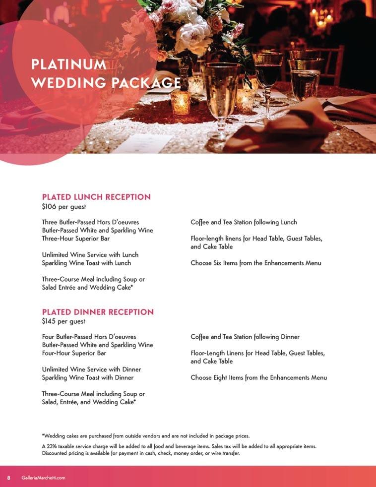 Galleria Marchetti wedding catering menu design example page three
