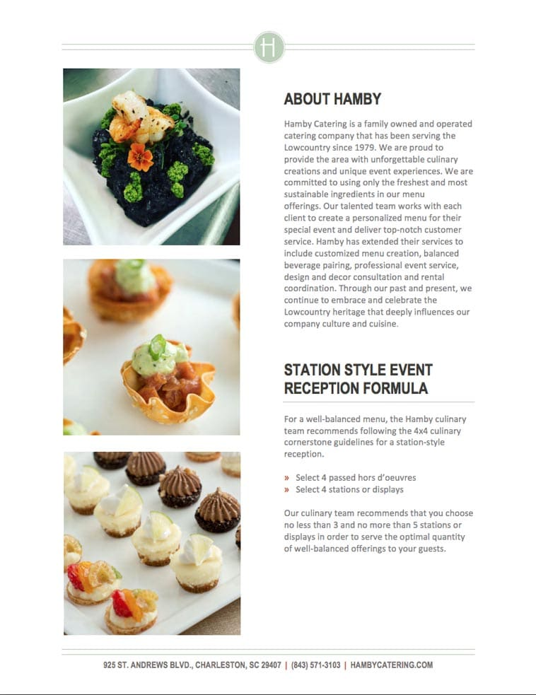 Hamby Catering menu design about page