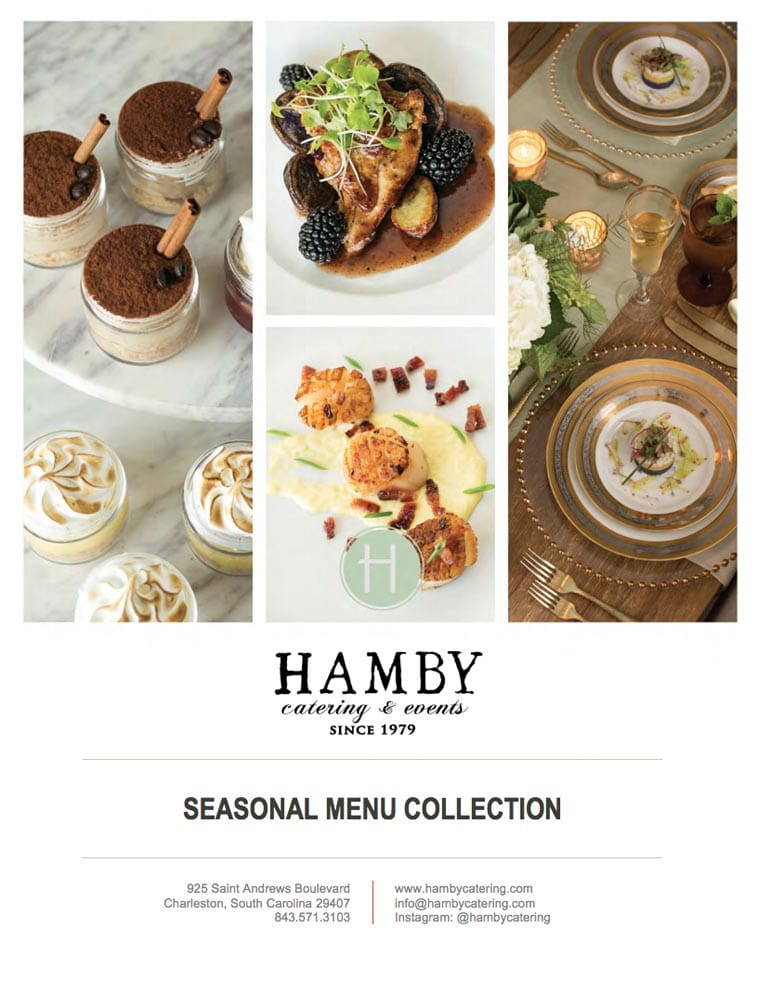 Hamby Catering menu design cover