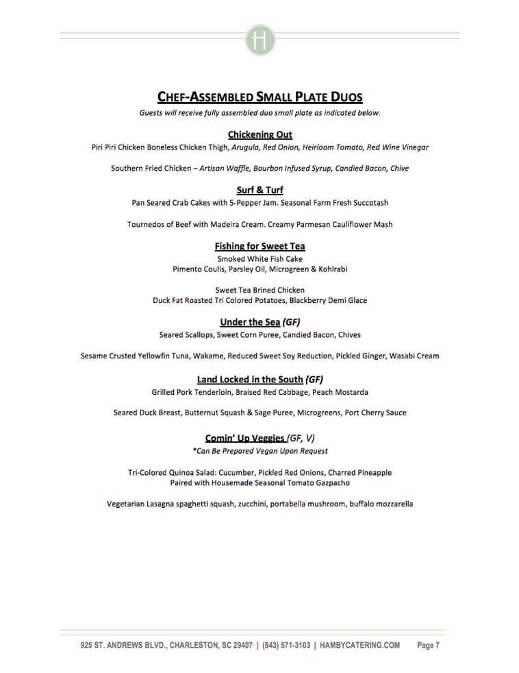 Hamby Catering menu design