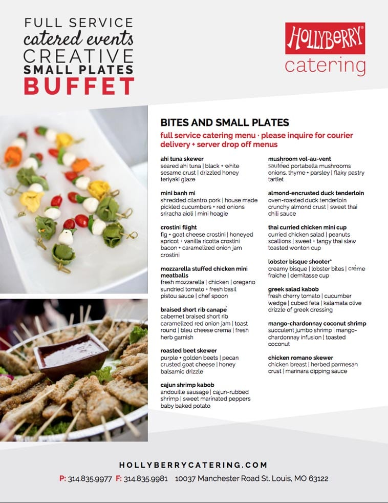 Hollyberry Catering Menu design idea