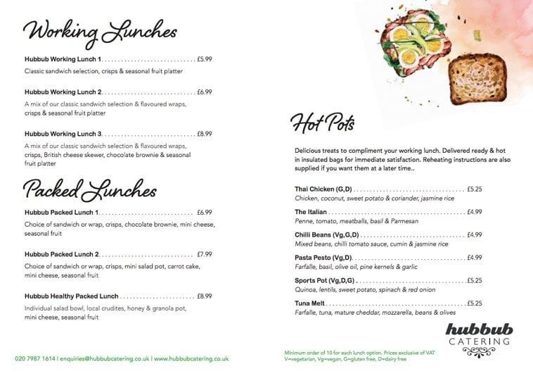 Hubbub Catering lunch menu design idea