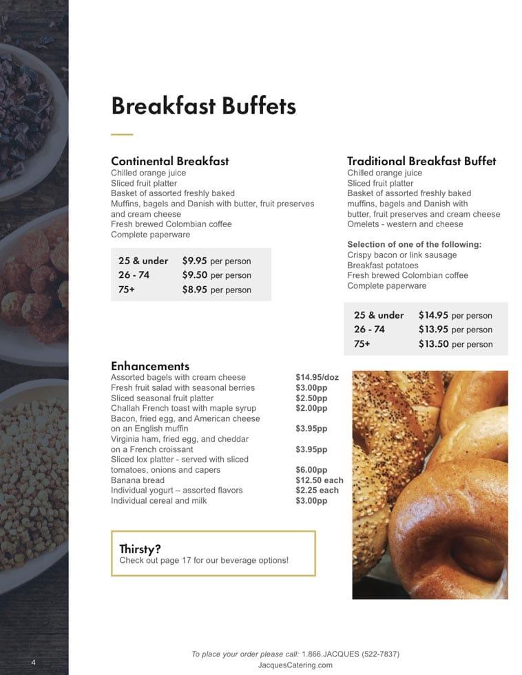 Jacques Catering menu design