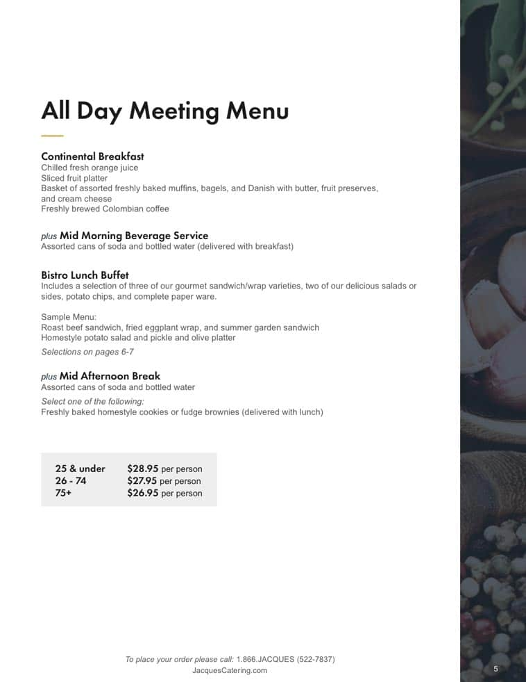 Jacques Catering menu design page two