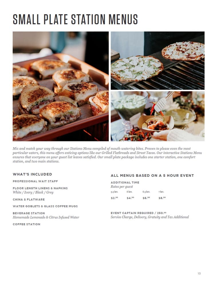 Jays Catering menu design example page two