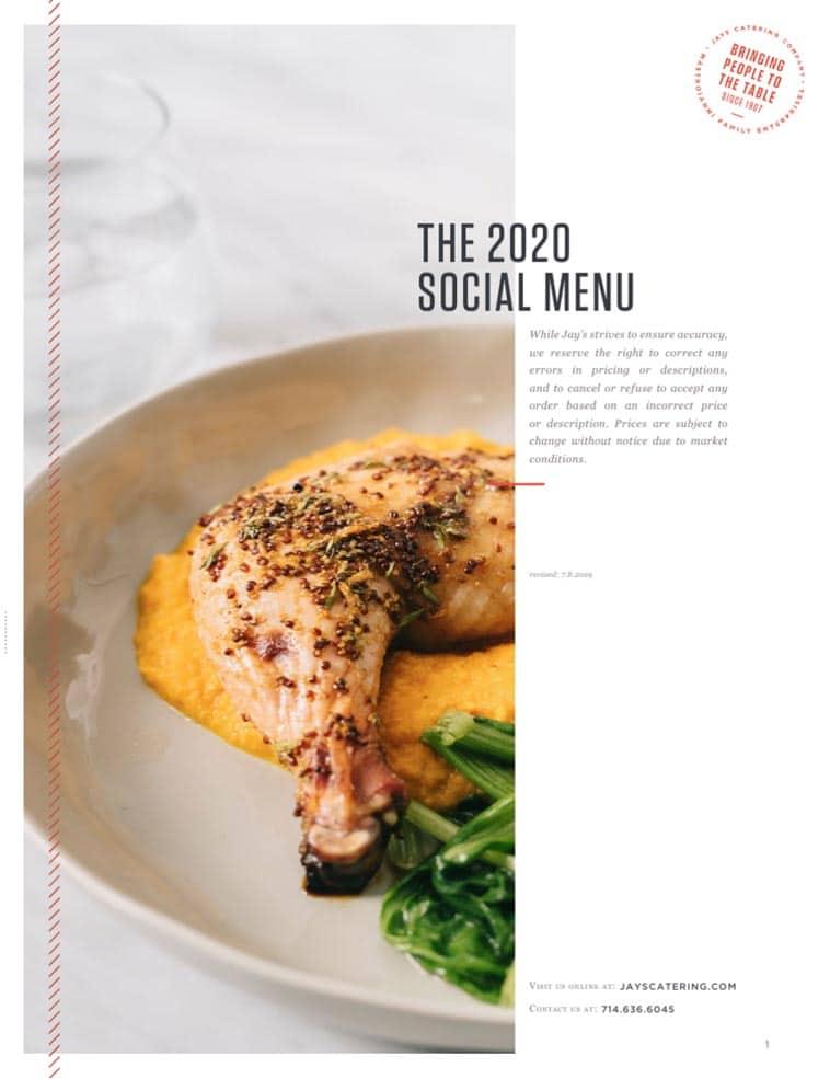 Jays Catering menu design example