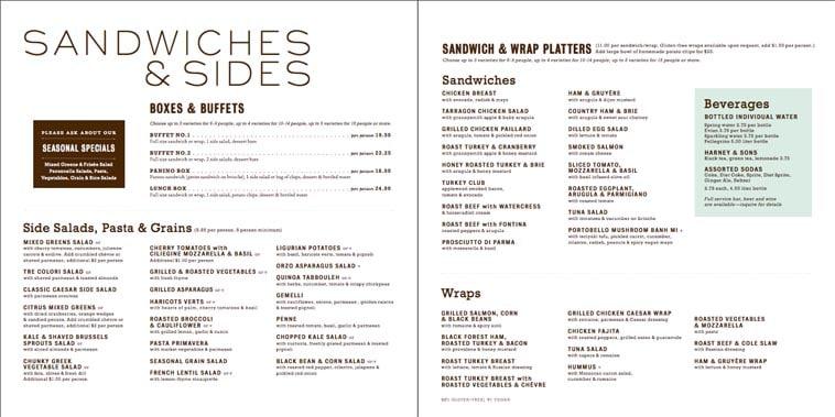 Mitchel London sandwich catering menu design