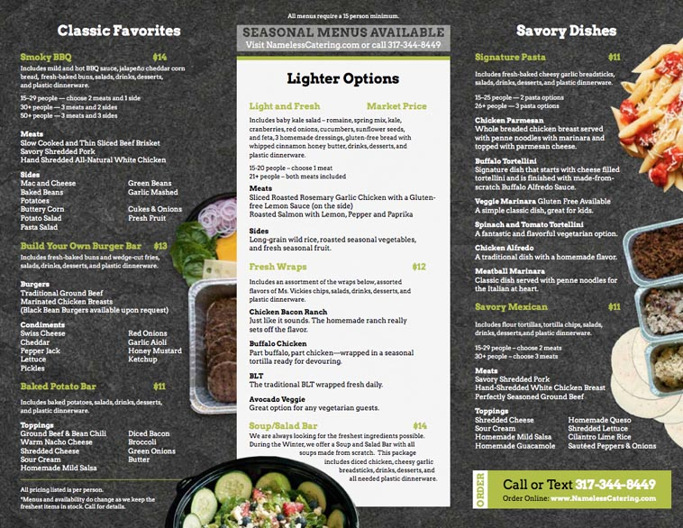 Nameless catering menu design idea two