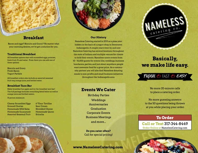 Nameless catering menu design idea