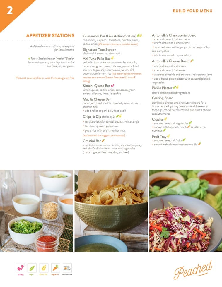 Peached tortilla simple catering menu design two