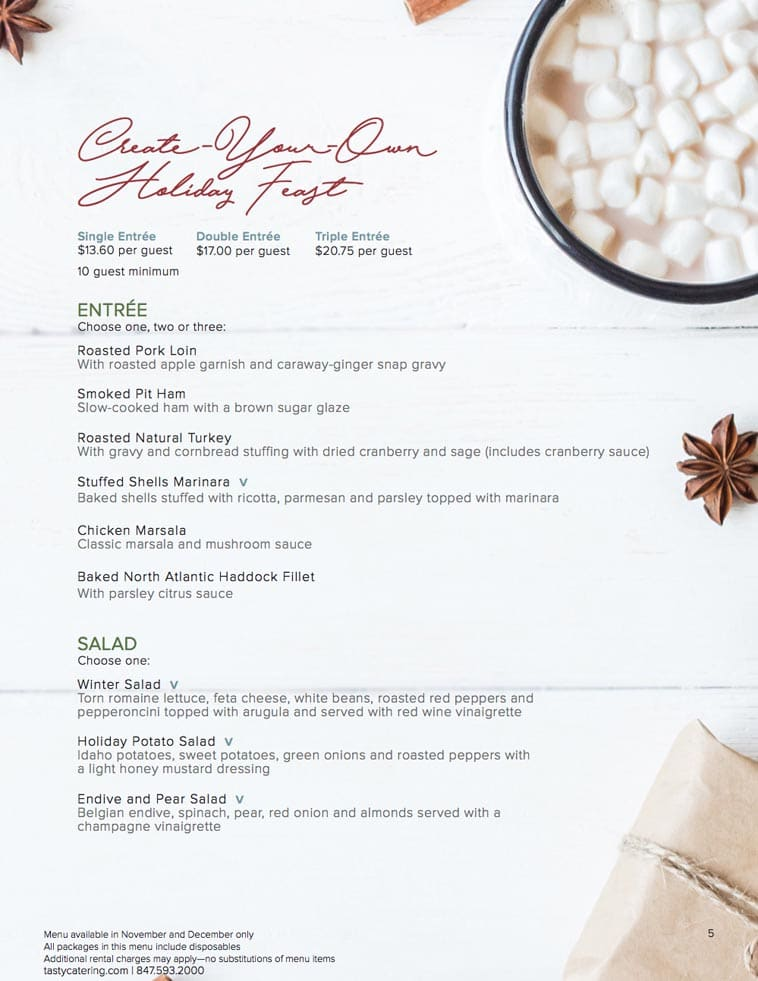 Tasty Catering holiday catering menu design two